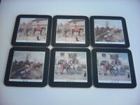 Set of 6 Coverleaf Hunting Coasters Boxed (lid missing)
