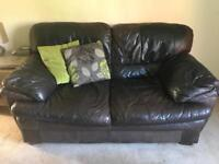 Leather 2 x 2 seater sofas + footstool