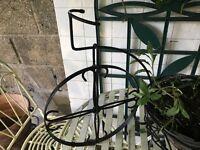 Garden Ornamental Black Metal Bike with plant Pot