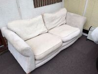 2nd Hand White sofa (with spare cushion cover) going FREE