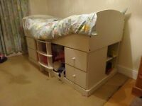 White ASPACE children's cabin bed with lots of storage.