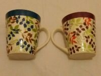 Pair Leaf Design Mugs Blue/Green Purple/Green