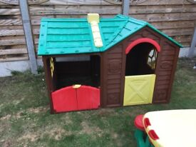 Childrens villa play house and picnic bench