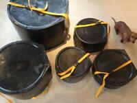 HARDCASE DRUM CASES. 14s 12t 13t 16ft 22b + cymbal case.