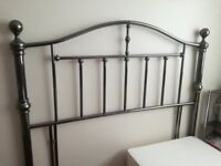 DOUBLE BED SIZE -LOVELY BLACK CHROME METAL HEADBOARD - REDUCED PRICE - NEVER BEEN HANDCUFFED!!!!