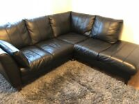 DFS black leather corner sofa (Very good condition and clean - bought in Nov 2014)