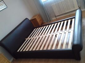 Faux Leather Dark Brown King Size Bed Frame
