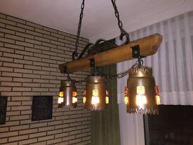 Vintage Farmhouse Style 1950's Continental 3 Light Ceiling Pendant Lamp