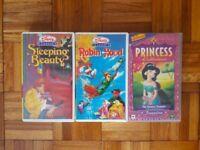 3 x Video Tapes Disney Sleeping Beauty, Robin Hood and Princess Jasmine Childrens Kids Cartoons VHS