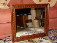 Vintage Mirror with Carved Oak Frame