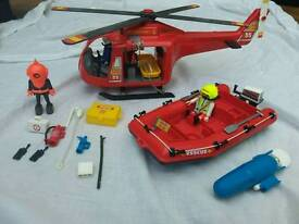 Playmobil rescue helicopter and dinghy