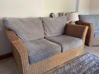Quality cane sofa set silver/grey