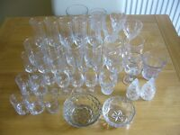 Joblot of 39 glass items / champagne/wine/beer/shot glasses / 2 bowls / Used