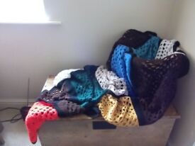 VINTAGE hand-made crocheted throw, multi-coloured squares, black borders, generous size: VGC