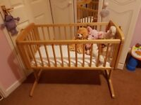 Baby Wooden Swinging/Rocking Crib & Mattress *Excellent Condition*