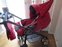Red Silver Cross Freeway Linear Pram with extra's