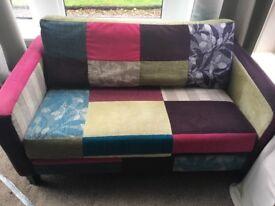 Multi-coloured Sofa and Armchair
