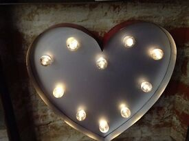 30CM HIGH LED HEART MARQUEE WALL LIGHT - FINISHED IN RED *HOME DECOR*