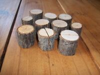 10 Rustic log table name card holders. Perfect for wedding