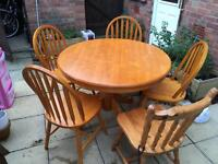 Pine table and 5 chairs