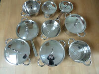 Professional T304 stainless cookware 10 pieces absolutely pristine and unused!!
