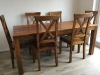 Stylish wooden dining table & 6 chairs