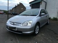 HONDA CIVIC 1.7 CDTI DIESEL 2003/03 3 DOOR IN SILVER 12 MONTH MOT ASTRA FOCUS LEON GOLF