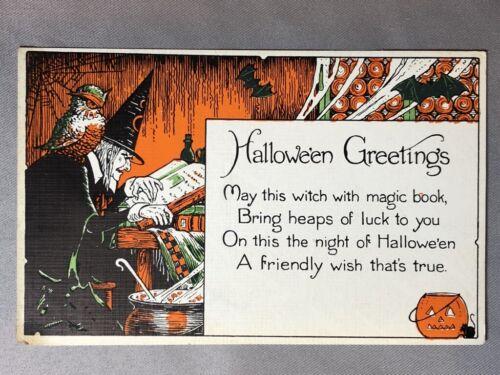 1920s HALLOWEEN WITCH Owl POSTCARD ANTIQUE Series 1275 MILLER ART Co