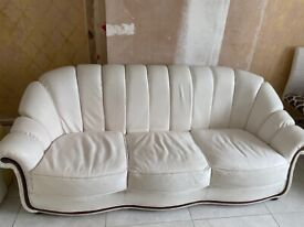 White Italian leather sofa