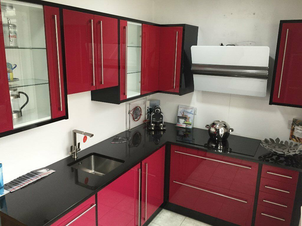 CROWN RIALTO RED BLACK GLOSS EX DISPLAY KITCHEN UNITS FOR SALE In Enf
