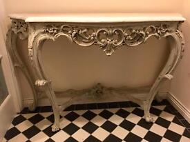 Antique Demi-Lune Marble Top Console Table