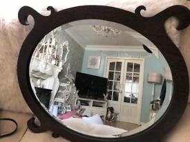 Large wooden vintage mirror
