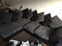 L shaped sofa charcoal/grey excellent condition