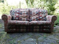 2-seat Chesterfield style sofa settee with solid wood frame and sprung base