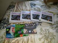 4 crochet albums and 3 books