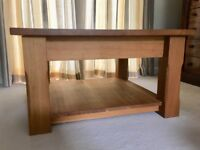 Solid oak 80cm square coffee table