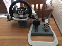 Microsoft XBOX 360 Force Feedback wireless steering wheel and pedals
