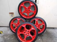 red alloy wheels audi vw volkswagon etc