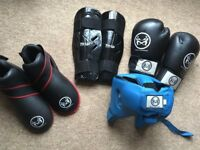 Kickboxing Equipment - includes gloves, boots, headguard and shinguards