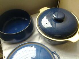 Denby imperial Blue serving dishes