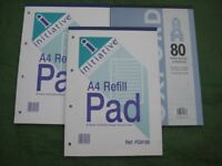 Three Brand New A4 Size Writing Paper Refill Pads of 80 Sheets/160 Pages: £2.00 each