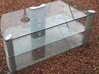 Glass 3 Shelf Large TV stand. Very good condition