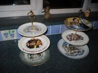 2 Vintage Mismatched Royal Wedding Cake Stands