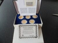 24ct gold plated coin collection 5 quarter dollars mint condition