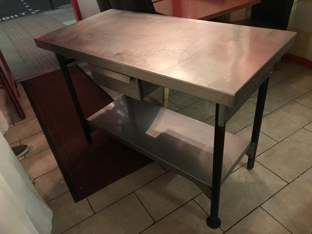 STAINLESS STEEL WORKTOP TABLE WITH SLIDING DRAW AND STORAGE UNDER IN GOOD CONDITION RESTAURANT CAFE