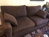 Large brown fabric sofa - great condition