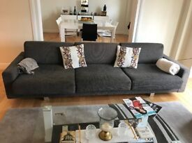 SOLD —- Quick sale grey sofa and footstool