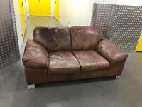 Tanned leather sofa, Free delivery
