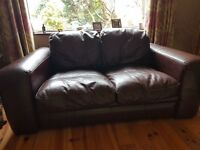 Brown leather suite 3+2+1 seater sofa & chair