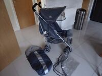 MACLAREN TECHNO XT PUSHCHAIR WITH FOOTMUFF AND RAINCOVER VERY GOOD CONDITION